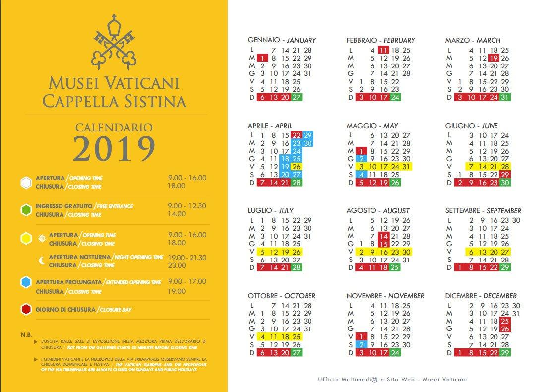 Calendario Musei Vaticani 2019