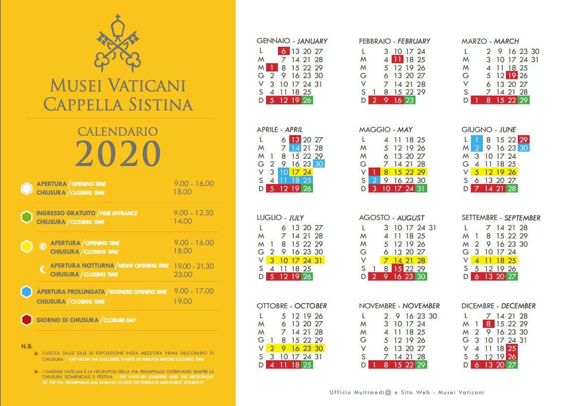 Calendario Musei Vaticani 2020
